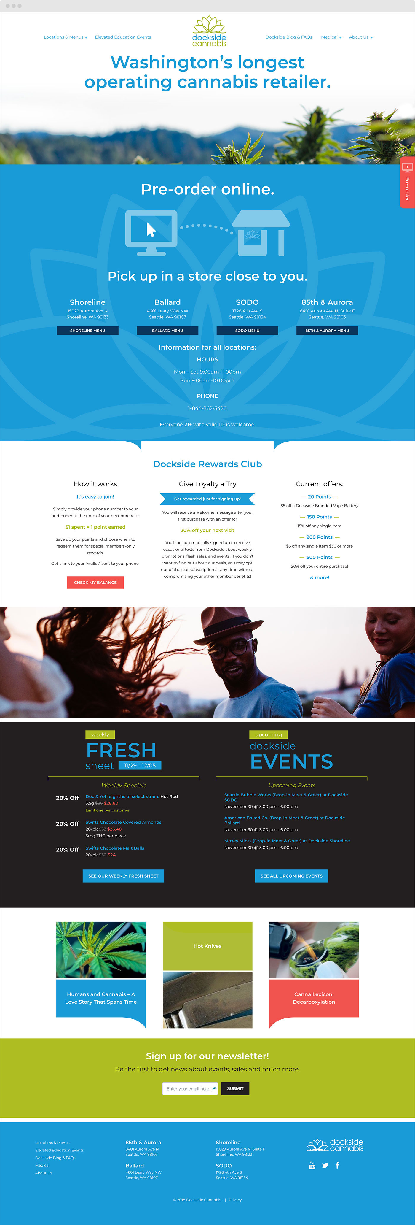Dockside Cannabis Website Home Page Designed by Craig Labenz